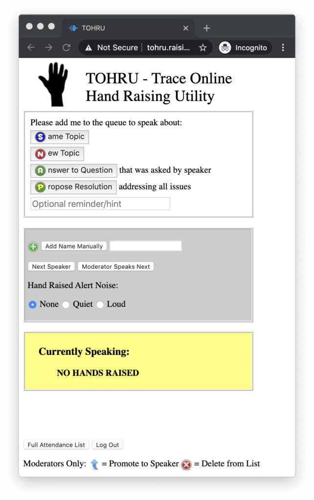 Screenshot of moderator view of TOHRU - Trace Online Hand Raising Utility. Buttons for queue management are shown: same topic, new topic, answer to question, propose resolution. Below that, options for adding names manually, current speaker, and promotion/deletion options.