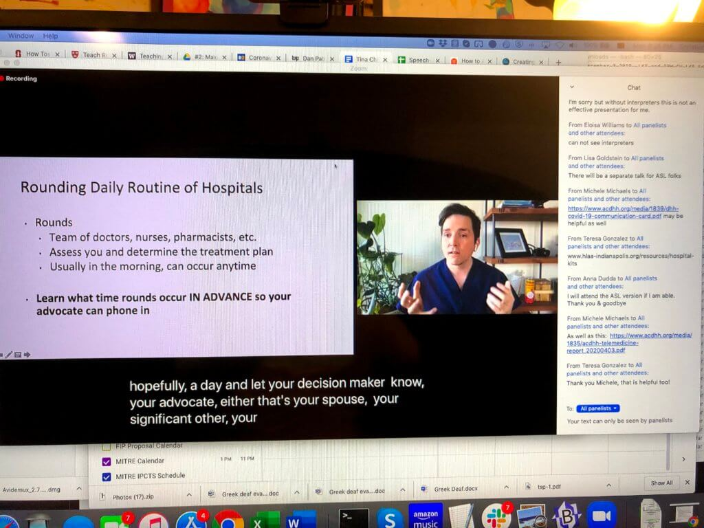 Attendee view of webinar with one video. A slide show is show in the Zoom app on the left side of the window. A divider separates a single video with one panelist from the slide show. No sign language interpreter is visible. The Zoom chat box is to the right of the videos.