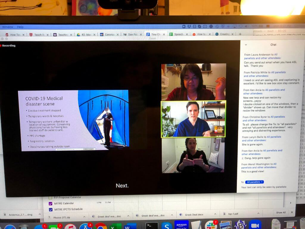 Attendee view of webinar with three videos. A slide show is show in the Zoom app on the left side of the window. A divider separates three videos with two panelists and one sign language interpreter from the slide show. The videos are stacked vertically. The Zoom chat box is to the right of the videos.