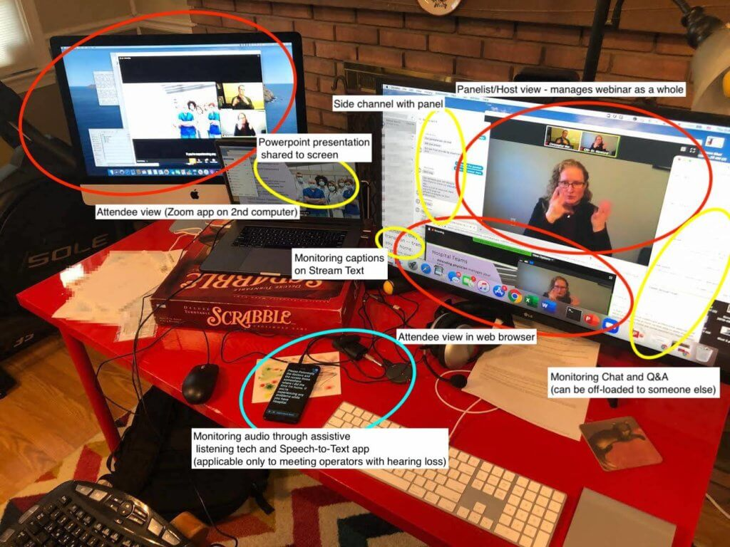 Computer and screen setup of the meeting operator. There are three screens: laptop screen, external monitor connected to laptop, and separate desktop computer with screen. The external monitor shows the panelist/host view of Zoom, iMessage as the side channel, a sliver of the web browser monitoring captions on StreamText, a sliver of the web browser monitoring the Zoom web attendee view, and the chat box and Q&A window partially overlapping the panelist view of Zoom. The laptop screen shows the Powerpoint presentation shared to the Zoom attendees. The second desktop shows the attendee view in the Zoom app. The laptop also has an Android phone running Live Transcribe and an assistive listening device connected to the audio jack (for a meeting operator who has hearing loss).