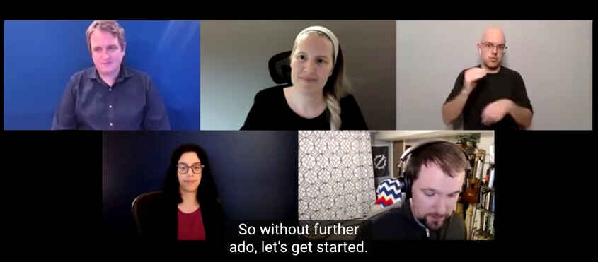 Telehealth and Telework Accessibility discussion. Zoom conference with Zainab Alkebsi, Blake Reid, Christian Vogler and two sign language interpreters.